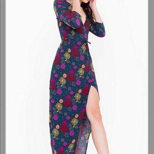 American Apparel crepe floral long dress